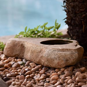 natural stone flat top pot planter
